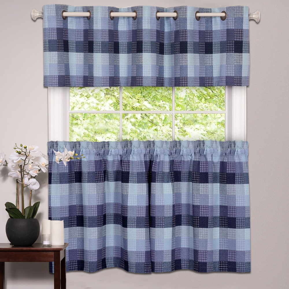 Details about Kitchen Window Curtain Classic Harvard Checkered, Tiers or  Valance Blue