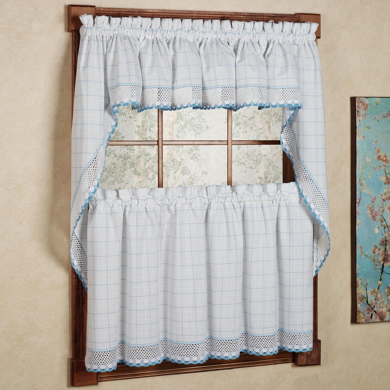 Adirondack Cotton Kitchen Window Curtains White Blue Tiers Valance Or Swag Ebay
