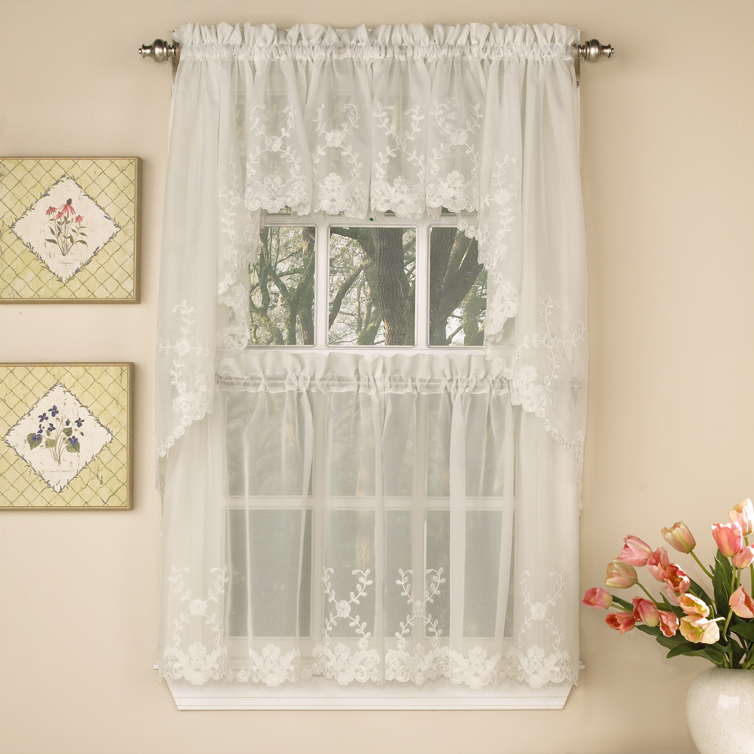 Details about Laurel Leaf Sheer Voile Embroidered Ivory Kitchen Curtains  Tier, Valance or Swag