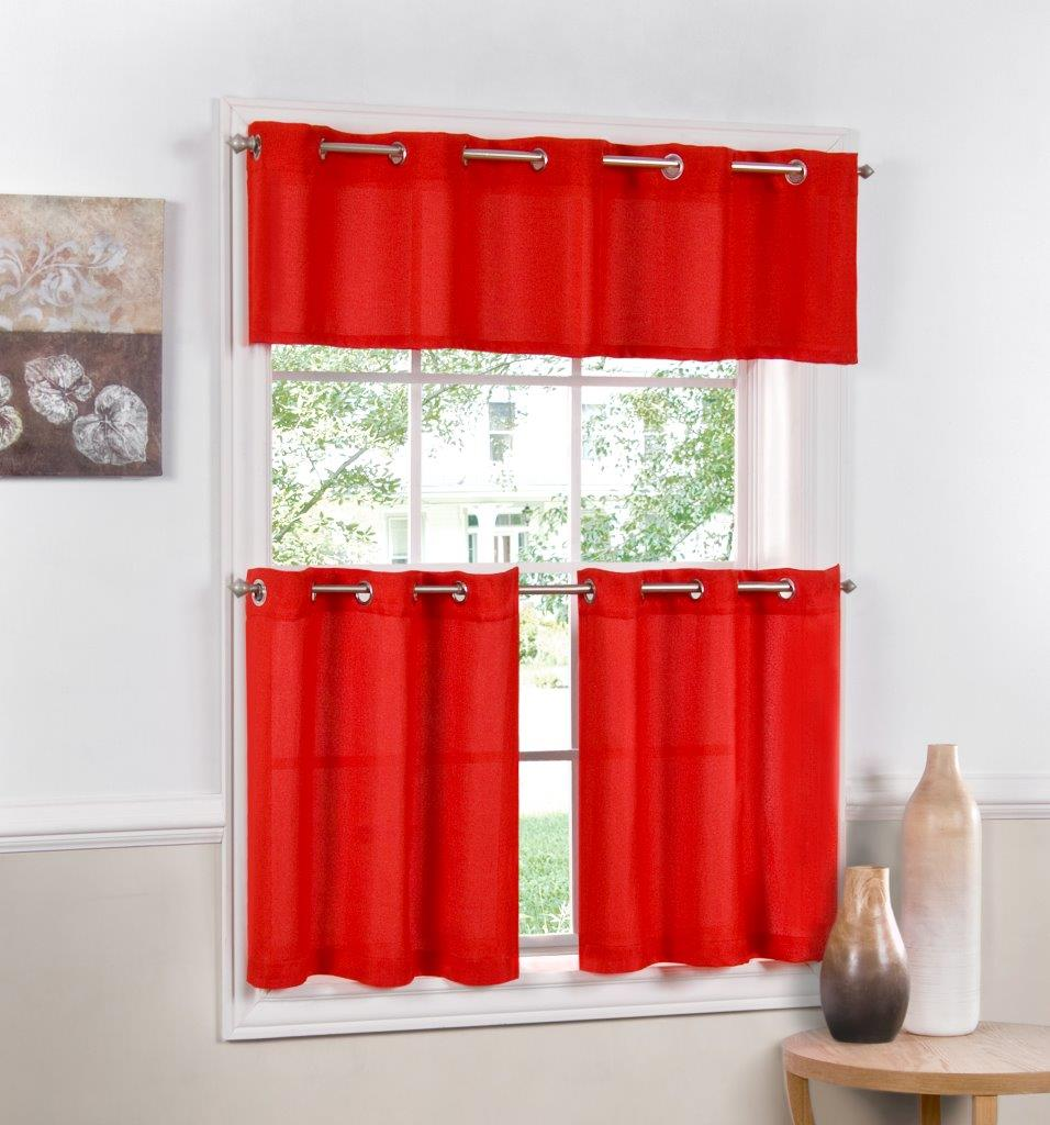 Jackson Textured Solid Red Kitchen Curtain Choice Tiers Or Valance Ebay