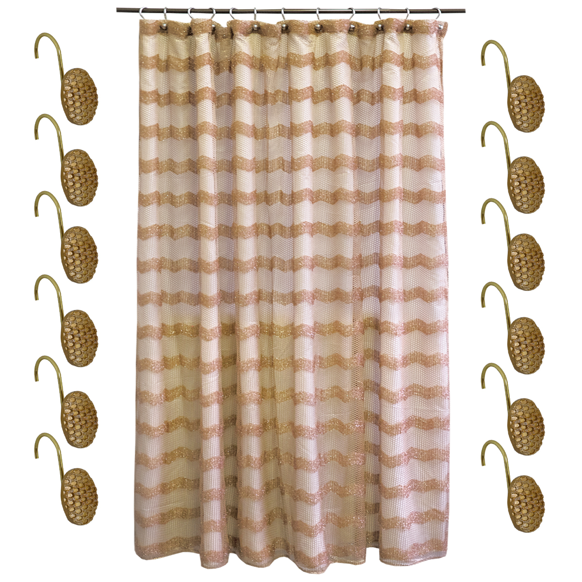 Details About Shower Curtain And Hooks Set Bronze Popular Bath Chateau Bathroom Collection