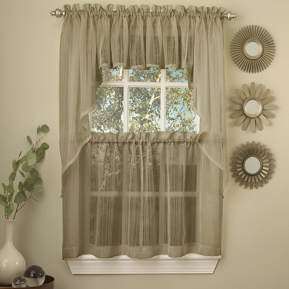 Details about Harmony Mocha Micro Stripe Semi Sheer Kitchen Curtains Tier  or Valance or Swag