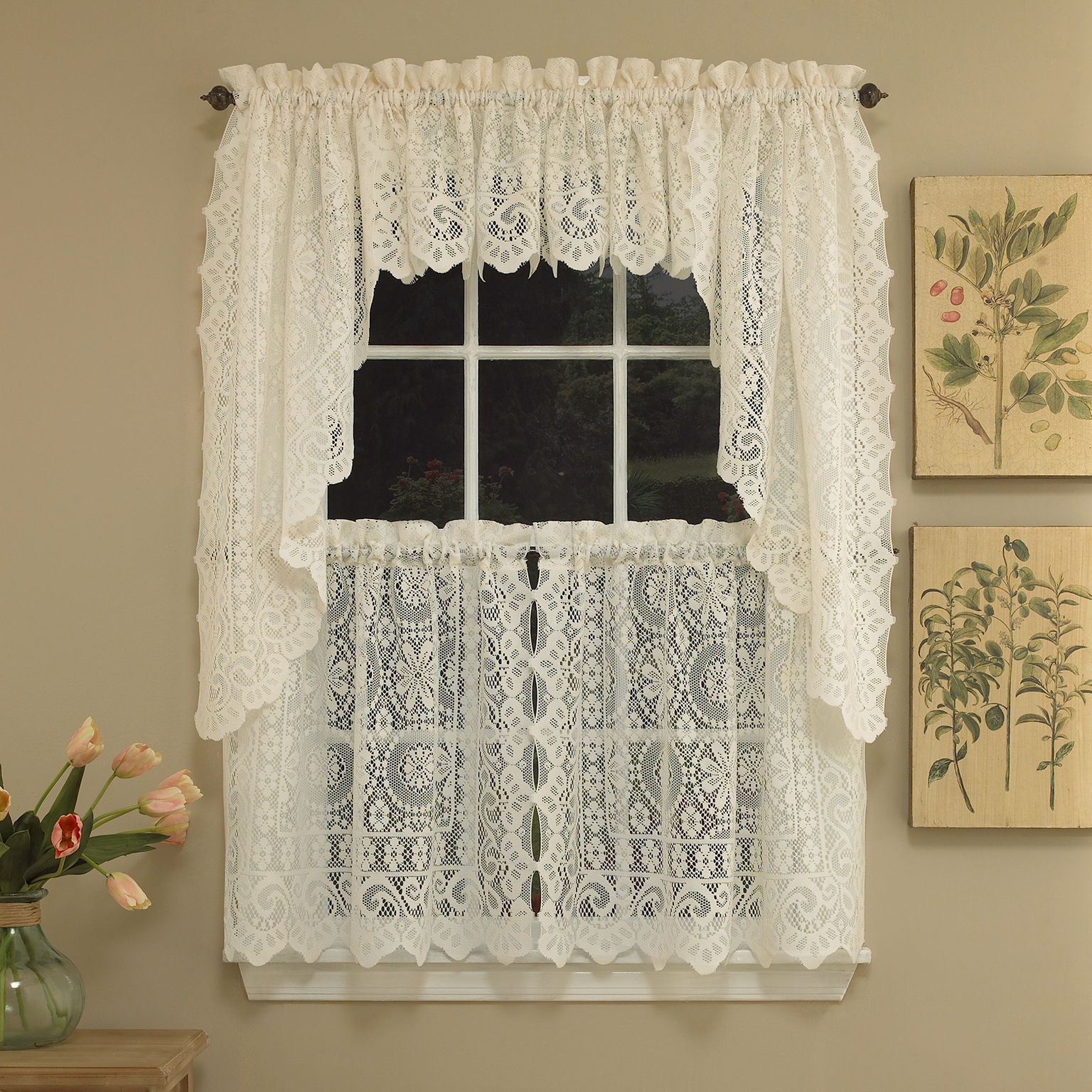 Hopewell Heavy Cream Lace Kitchen Curtain Choice Of Tier Valance Or Swag Ebay