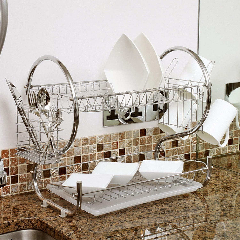 Home Basics Chrome 2 Tier Kitchen Sink Dish Drainer Drying Rack