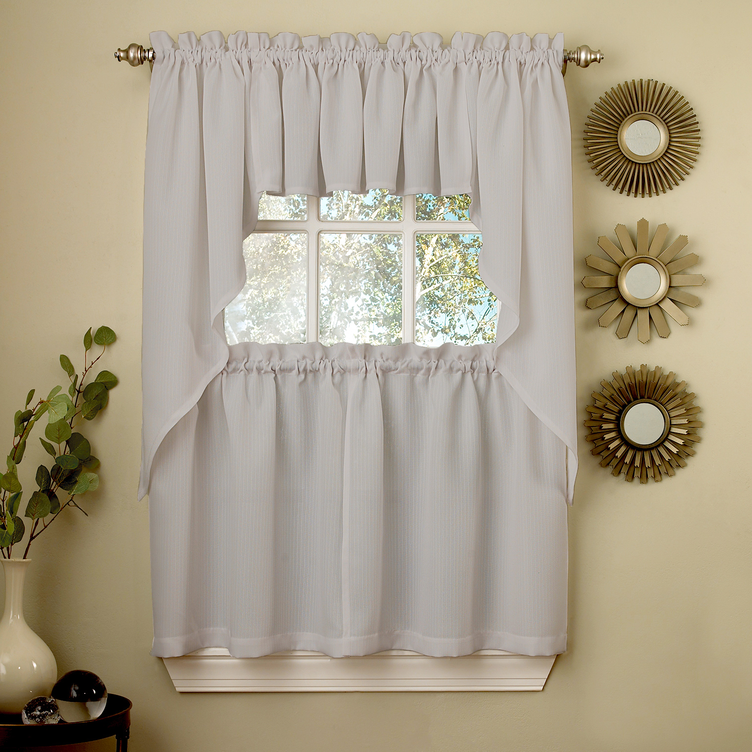 Details about Gray Opaque Solid Ribcord Kitchen Curtains Choice of Tier  Valance or Swag