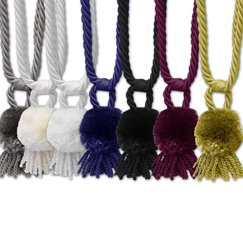 """Vintage Rope Fringe Pom Pom Tassel Window Curtain Holdback Tie Back Set of /""""2/"""""""
