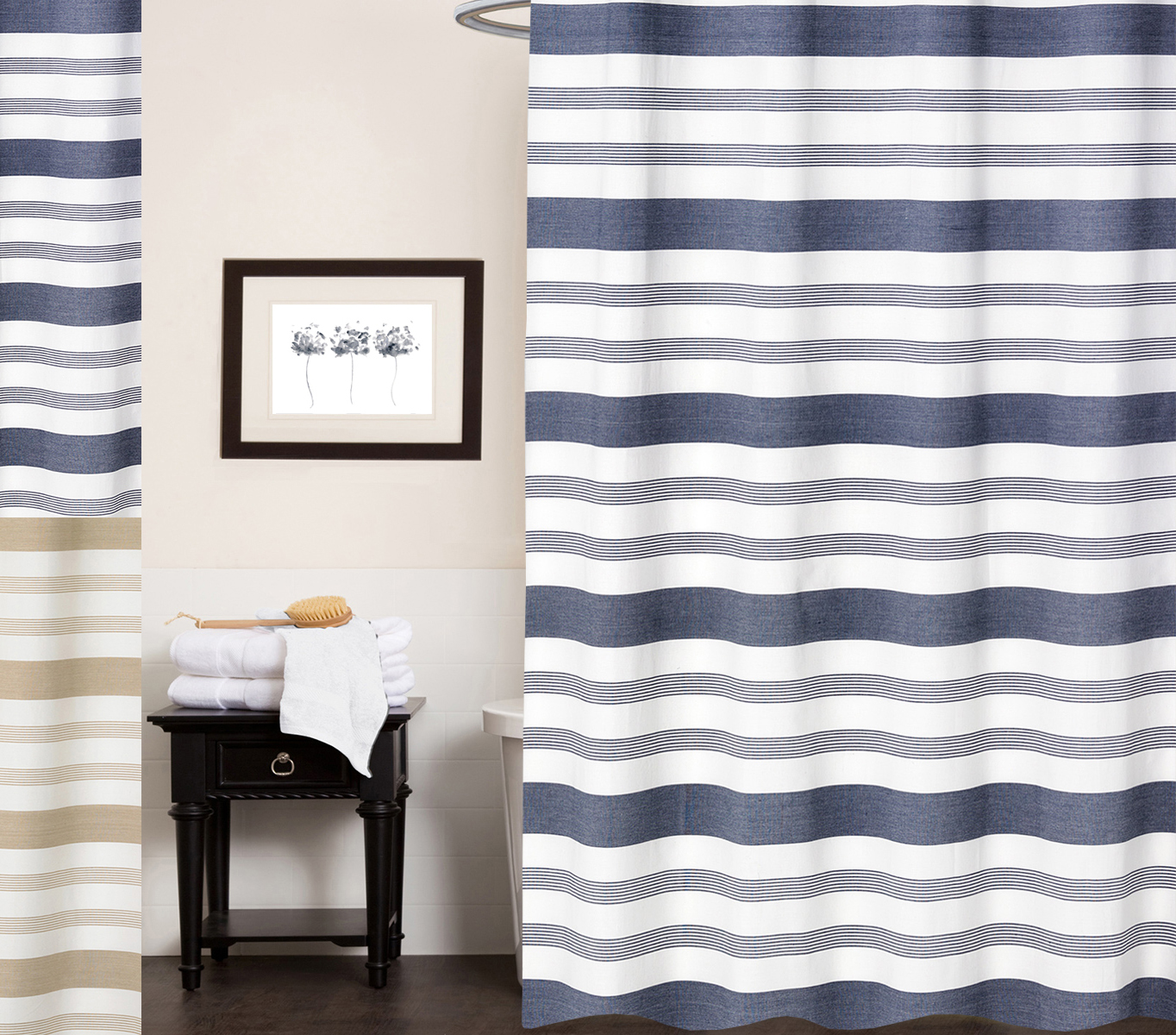 Details About Nowell 100 Cotton Fabric Striped Shower Curtain 70 X 72