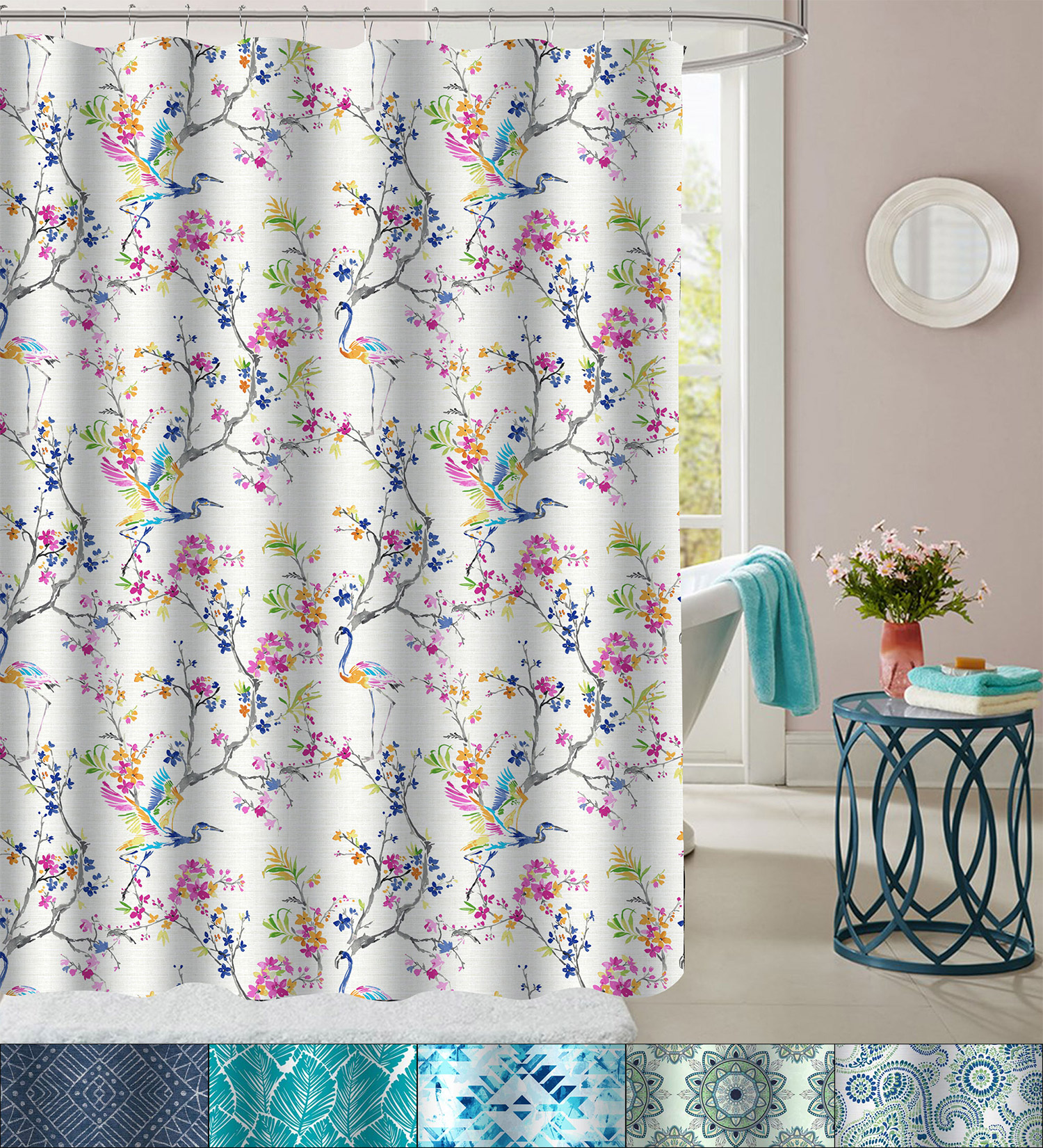 Geometric Fabric Shower Curtain 72 x 70 Printed Patterns Floral 15 Styles