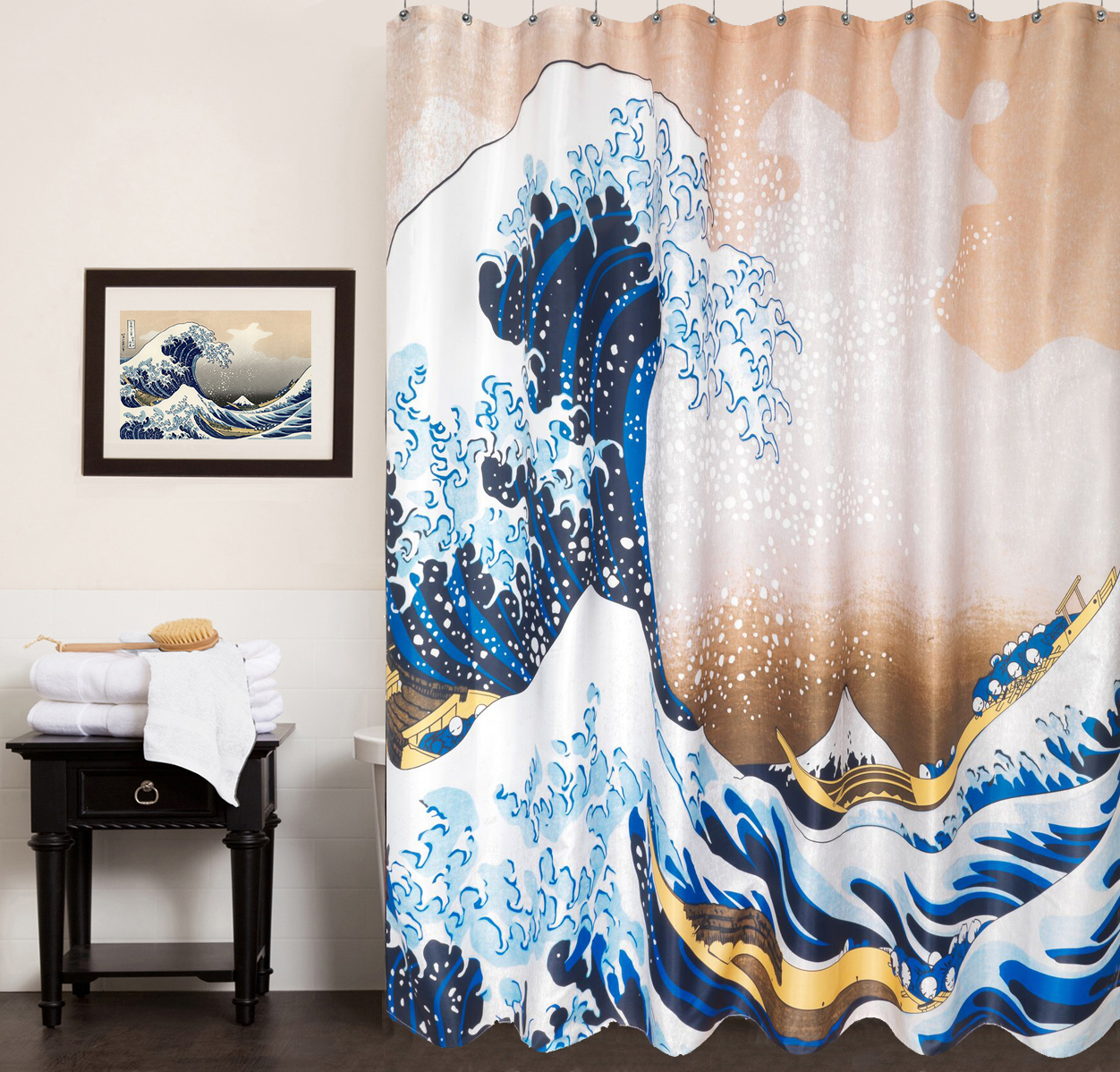 Details About 100 Polyester Fabric Shower Curtain Hokusai The Great Wave 70 X72