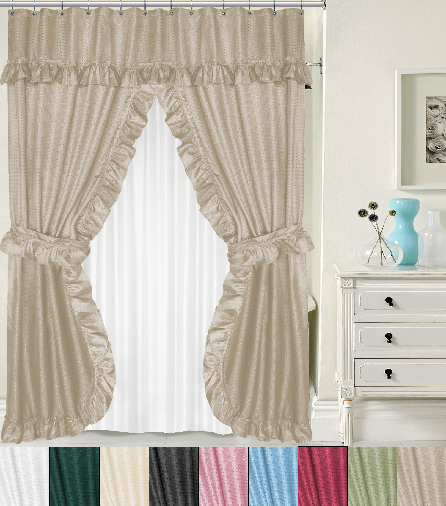 Details About Lauren Double Swag Peva Fabric Shower Curtain W Tie Backs Liner 70 X 72