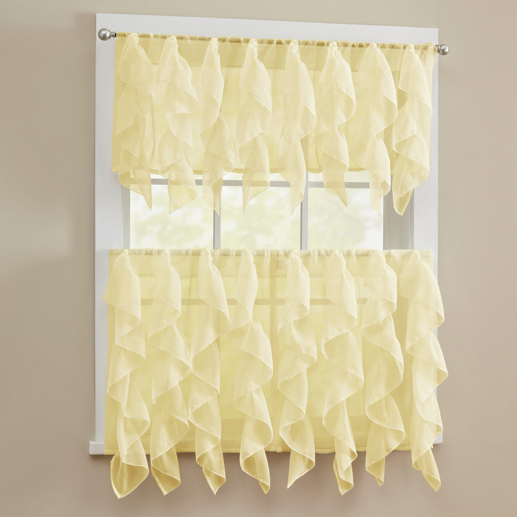 Details about Sheer Voile Vertical Ruffle Window Kitchen Curtain Tiers or  Valance Maize