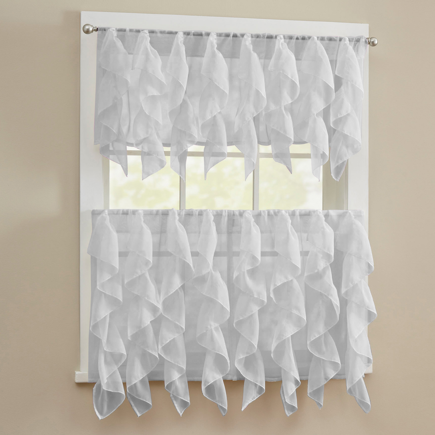 Details about Sheer Voile Vertical Ruffle Window Kitchen Curtain Tiers or  Valance Silver