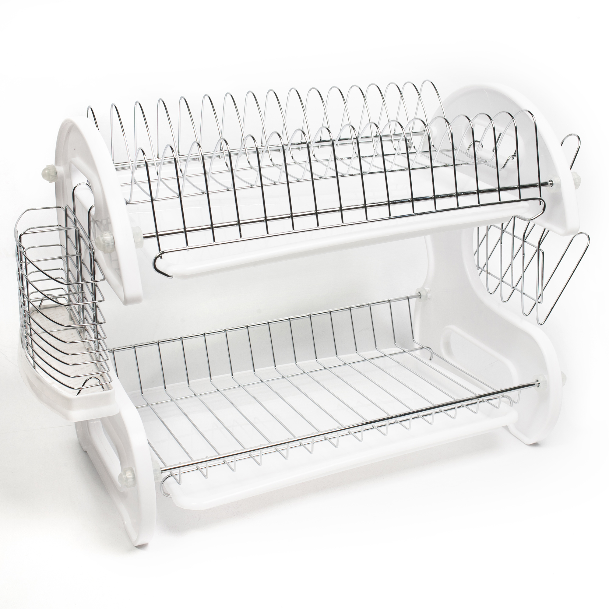 Details about home basics white 2 tier kitchen sink dish drainer set