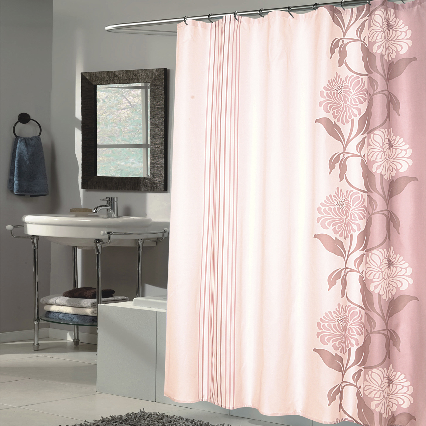 Details About Beautiful Flower Stripe Motif Extra Long Fabric Shower Curtain 84 X 70 Brown