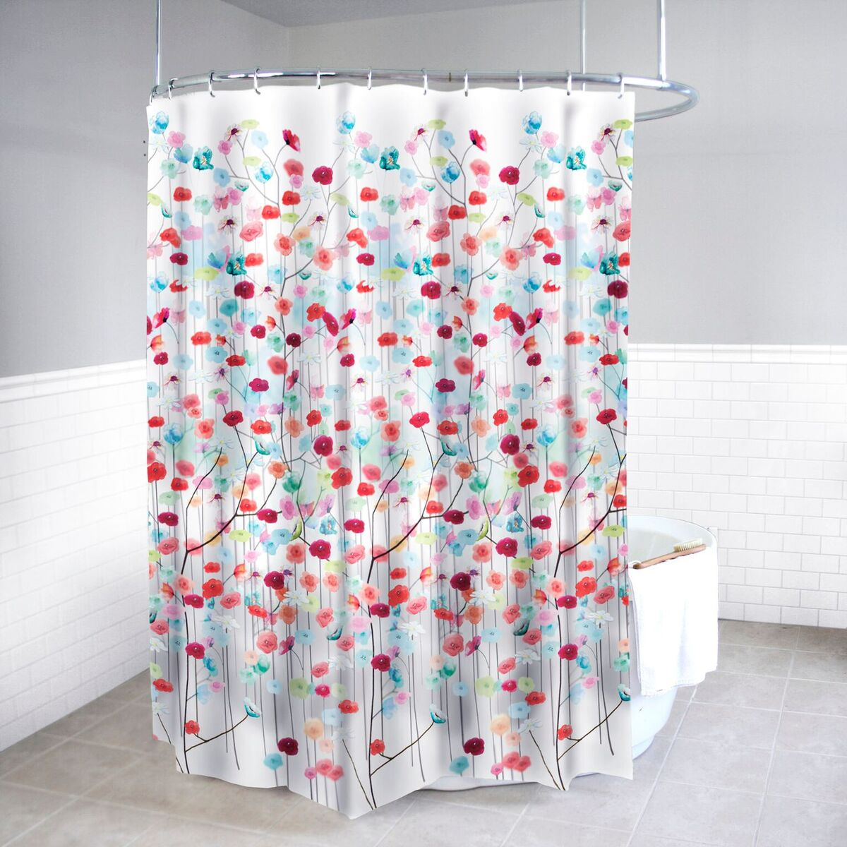Details About Polyester Shower Curtain And Hooks Set Mansi Floral Bath Accessory Collection