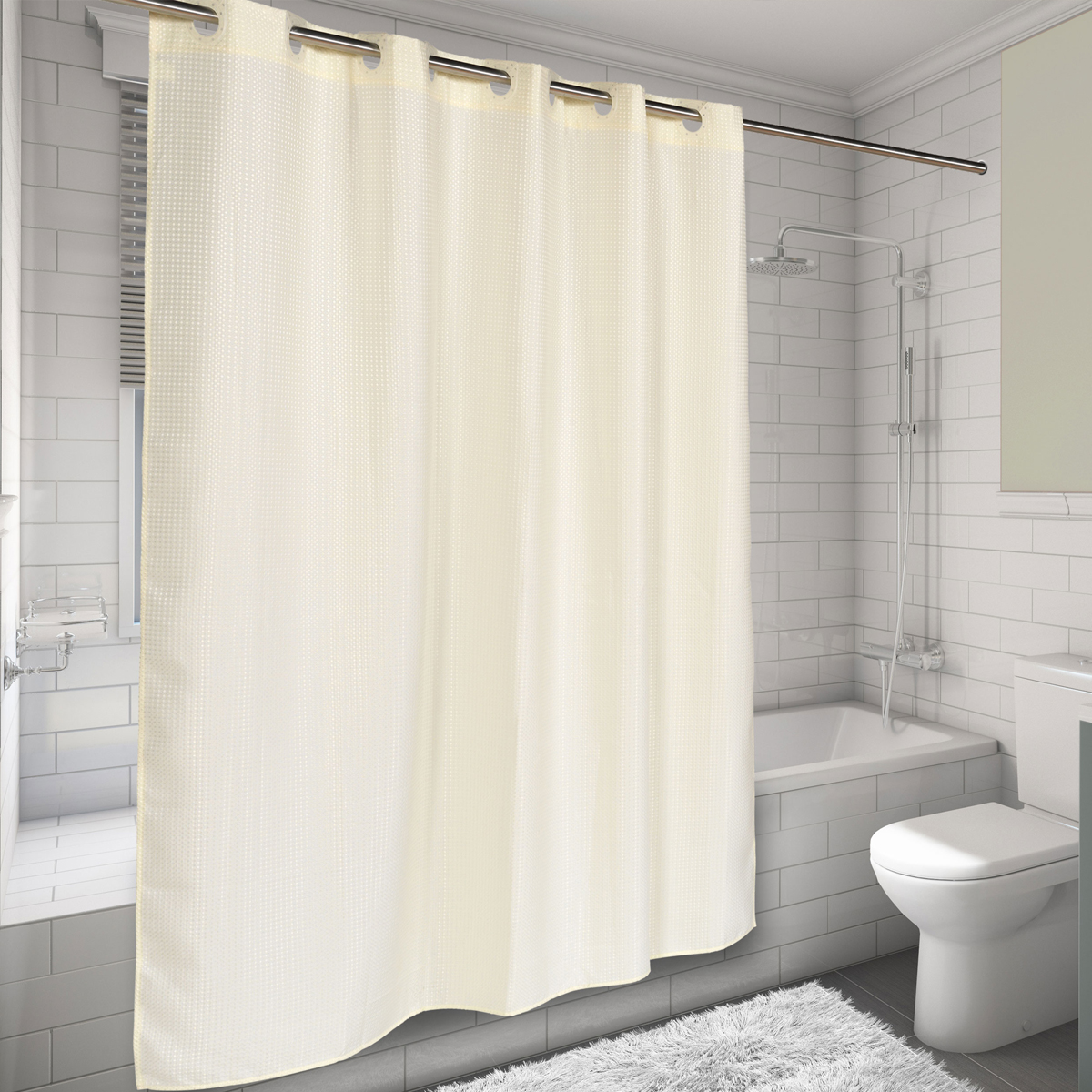 Details About Ez On Hookless Fabric Shower Curtain Waffle Weave 70 X75 Ivory
