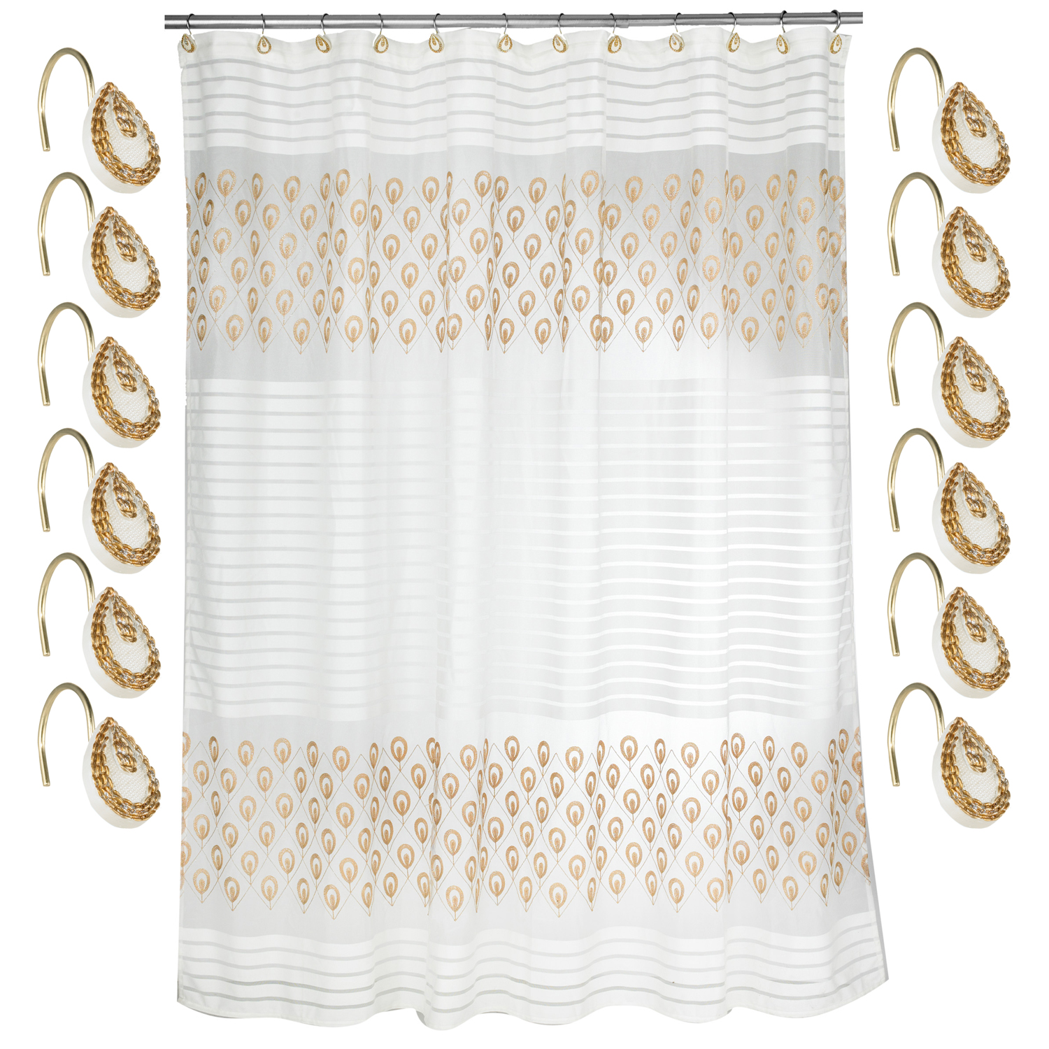 Details About Bathroom Shower Curtain And Hooks Set Beige Gold Popular Bath Seraphina