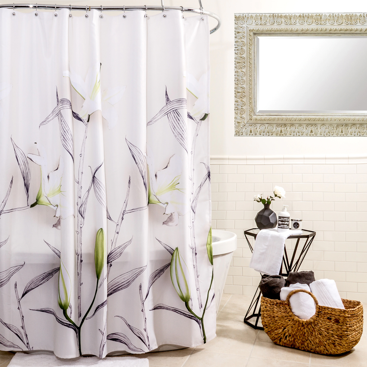 Details About Lillies Floral Fabric Shower Curtain 70 X 72 White Splash Home