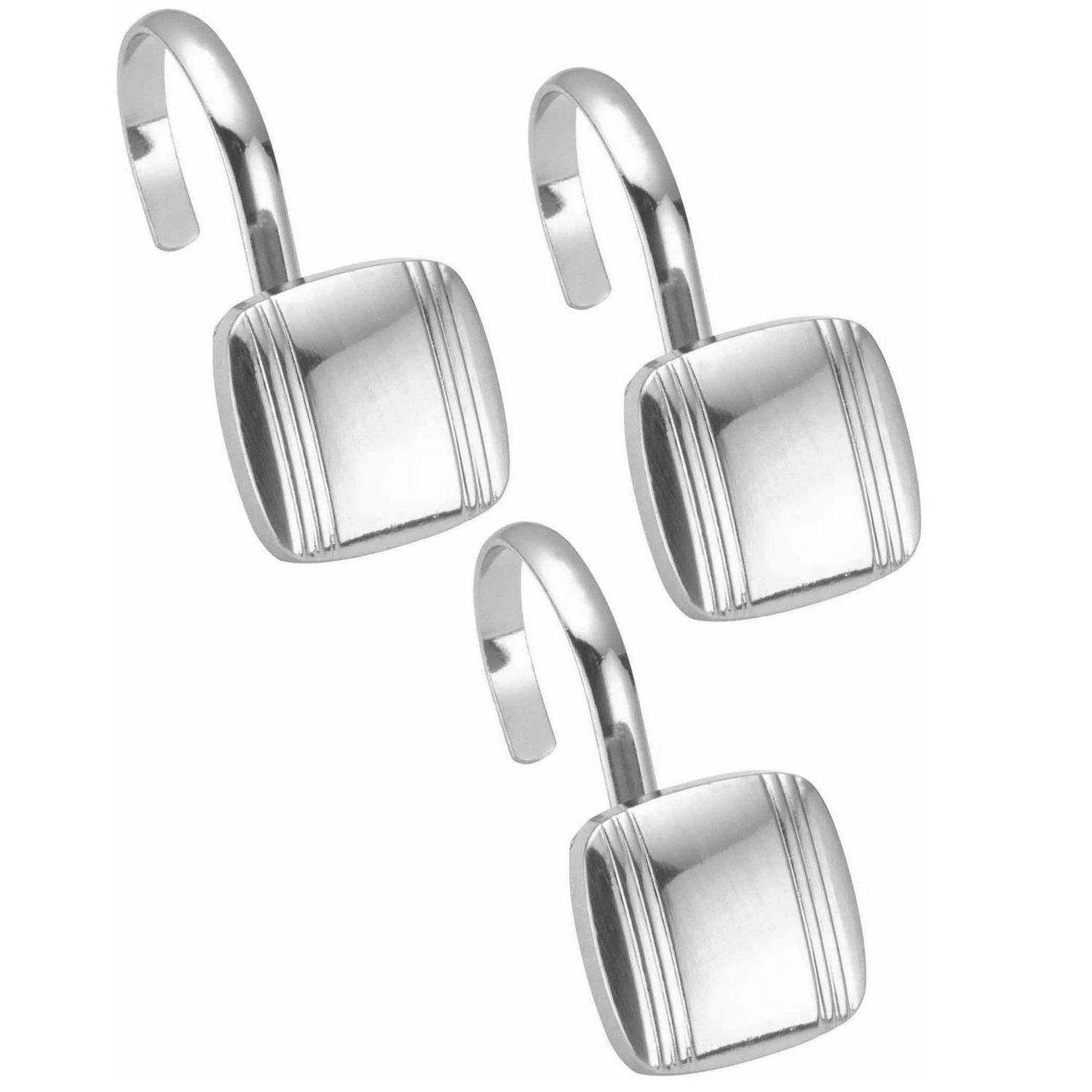 Details About Hagan Chrome Metal Shower Curtain Hook Set Of 12
