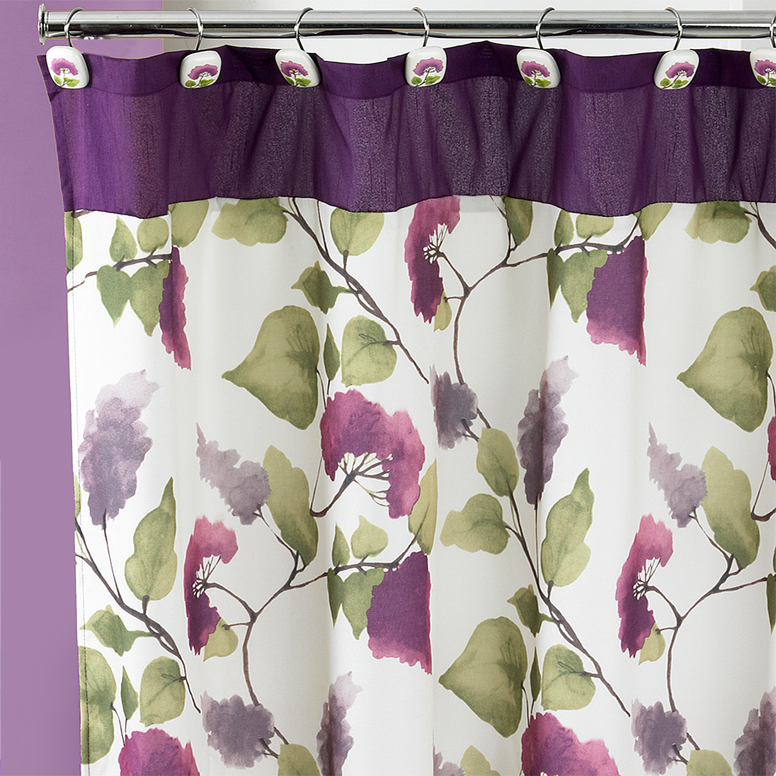Details About 70 X 72 Fabric Bathroom Shower Curtain Popular Bath Jasmine Plum