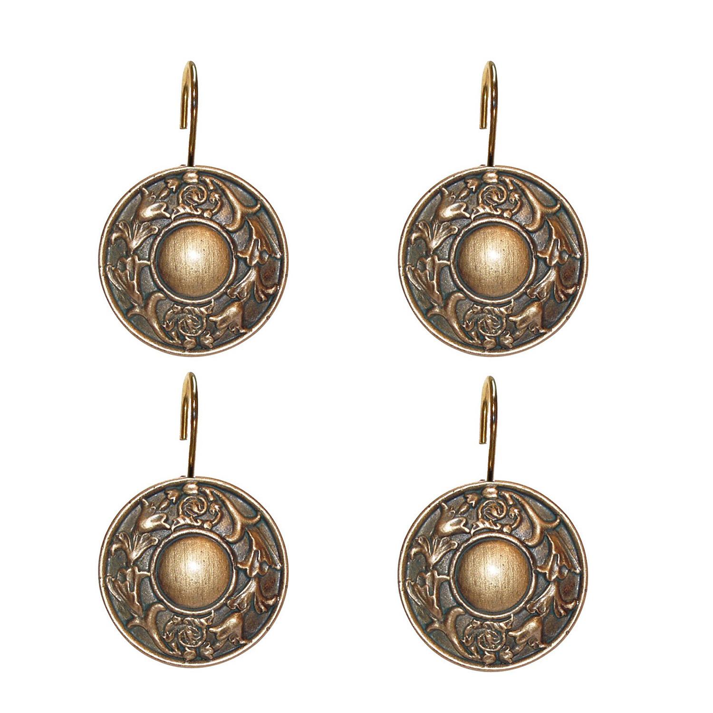 Details About Hand Crafted Bronze Regency Era Designed Shower Curtain Hook Set 12 Pack