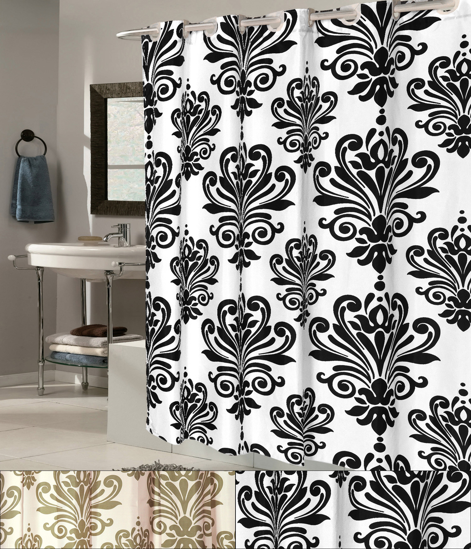 Details About Ez On Beacon Hill Fleur De Lis 70 X75 Hookless Fabric Shower Curtain Liner