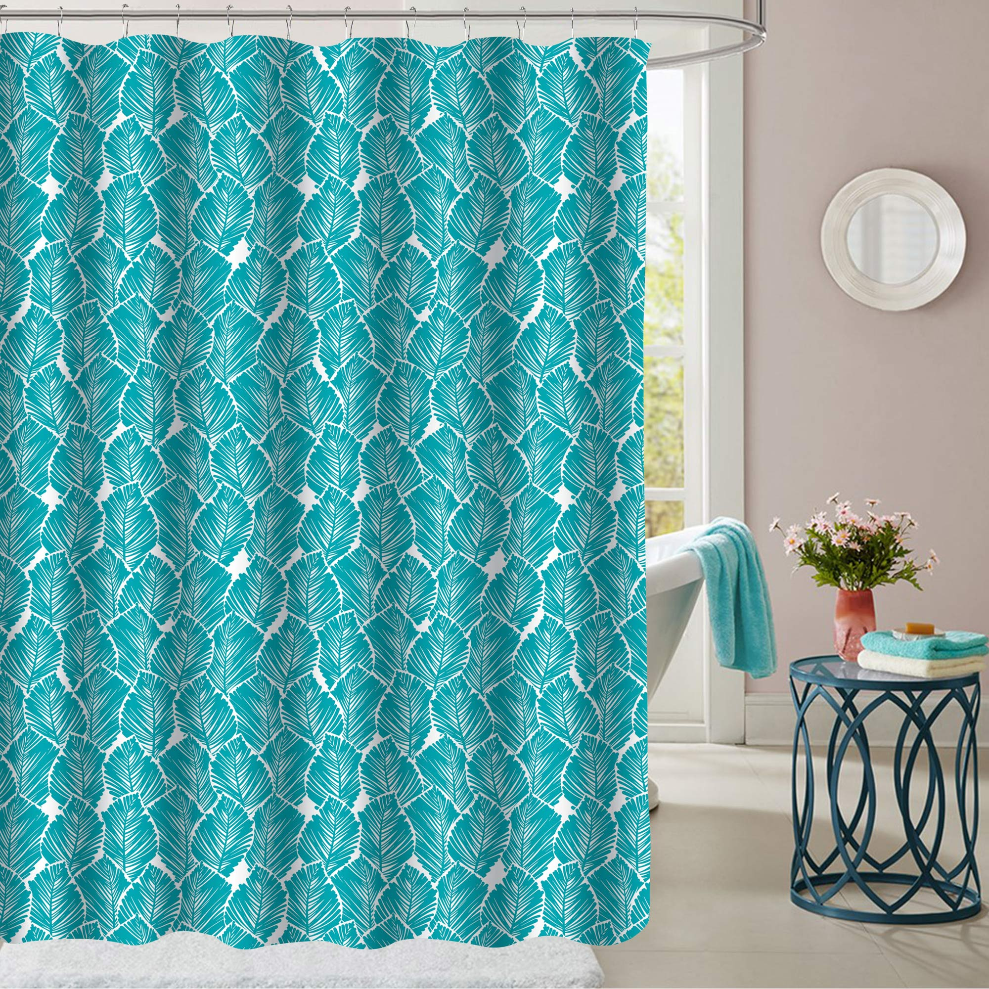 Details About Tropical Leaf Pattern Teal Fabric Bathroom Shower Curtain 70 X72
