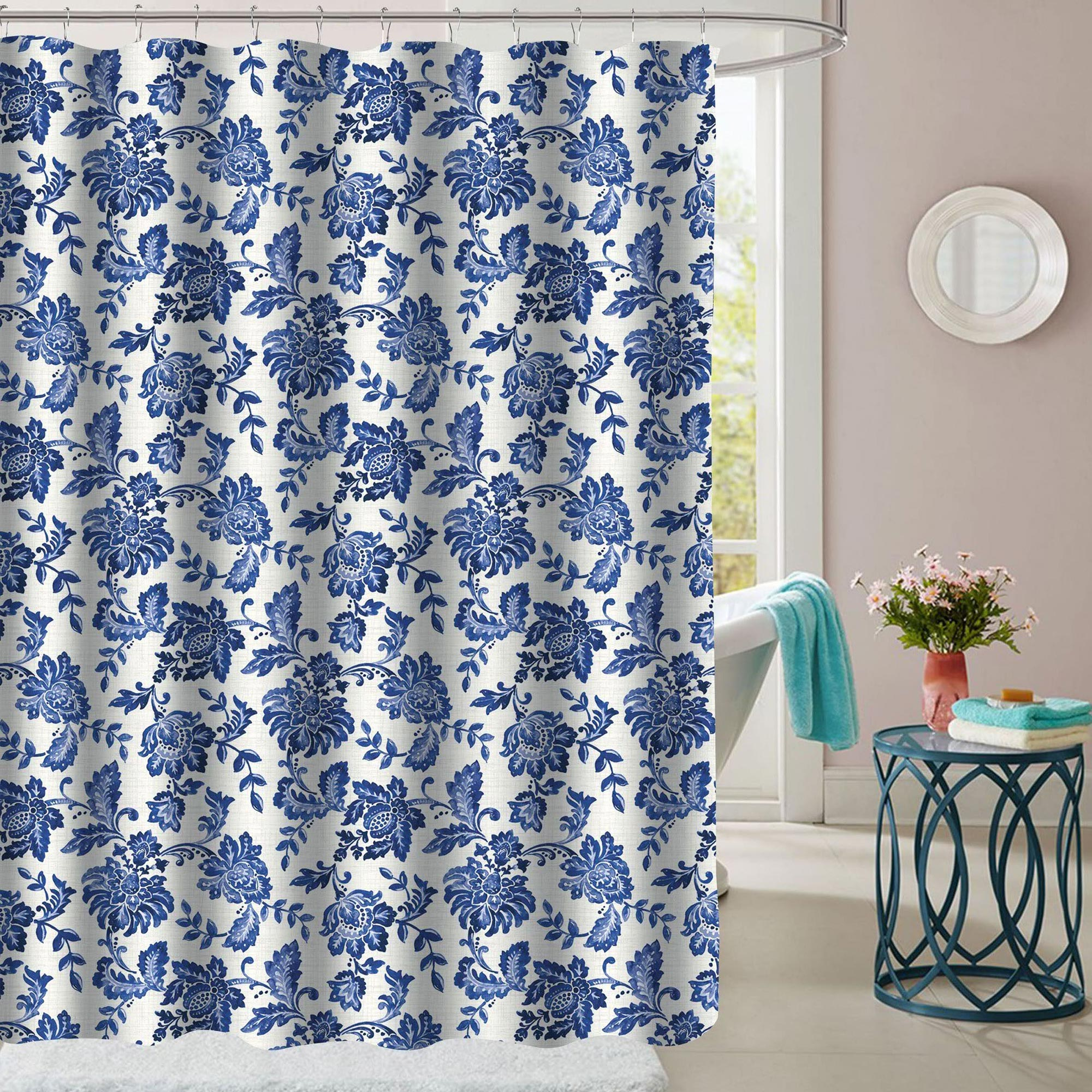 Details About Tuscany Navy Floral Pattern Fabric Bathroom Shower Curtain 70 X72